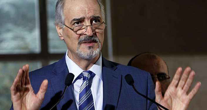 Syrian government's head of delegation, Bashar al-Jaafari attends a news conference after a meeting on Syria at the European headquarters of the United Nations in Geneva, Switzerland, March 21, 2016