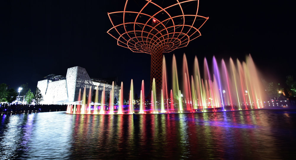 A night picture shows the Tree of Life, a 35-meter high installation, at the site of the Universal Exhibition 2015 (Expo Milano 2015 or World Exposition 2015) in Milan