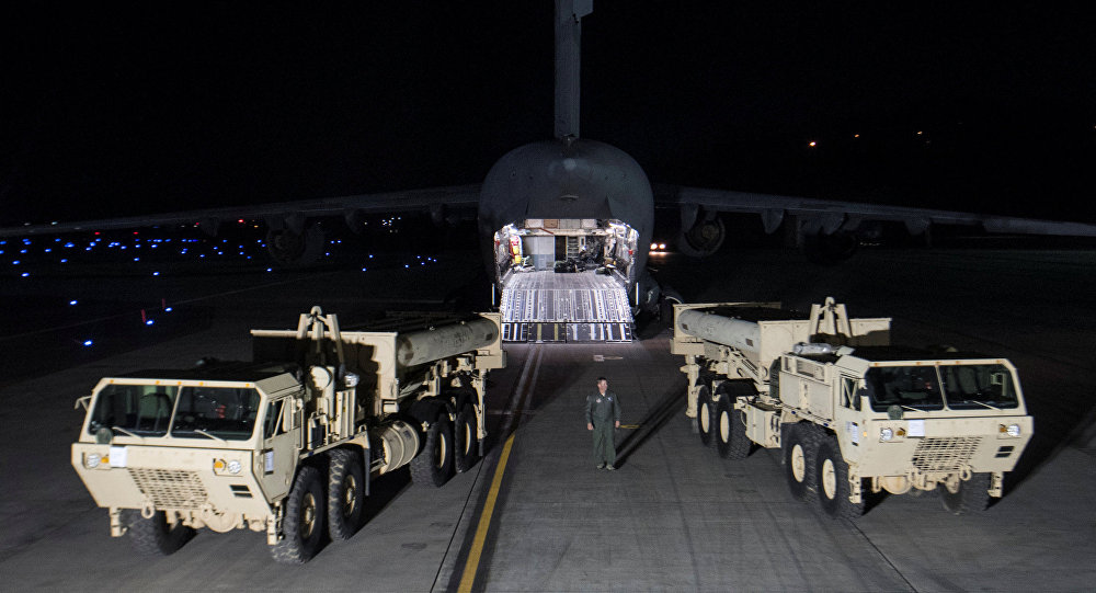 Terminal High Altitude Area Defense (THAAD) interceptors arrive at Osan Air Base in Pyeongtaek, South Korea, in this handout picture provided by the United States Forces Korea (USFK) and released by Yonhap on March 7, 2017. Picture taken on March 6, 2017