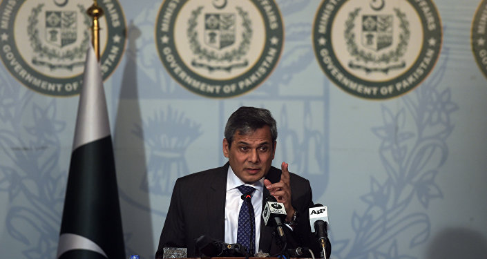 Spokesman of the Pakistan's Foreign Ministry Nafees Zakaria speaks at a press conference in Islamabad on September 29, 2016