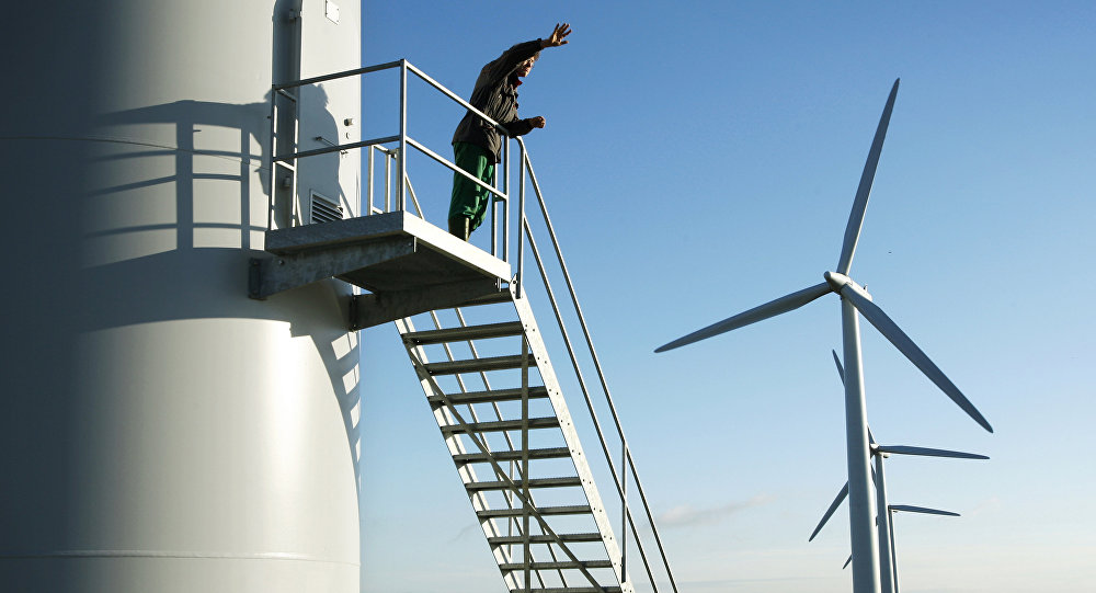 Landowner Adam Twine is pictured at Westmill Wind Farm Co-op, the first onshore wind farm to be built in the south-east of England in Watchfield near Swindon, on December 5, 2008