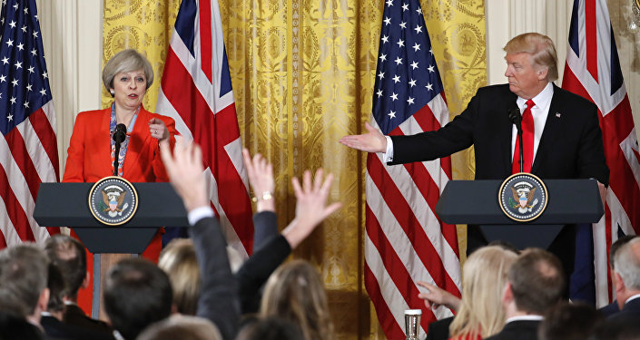 President Donald Trump and British Prime Minister Theresa May during their joint news conference in the East Room of the White House White House in Washington, Friday, Jan. 27, 2017.