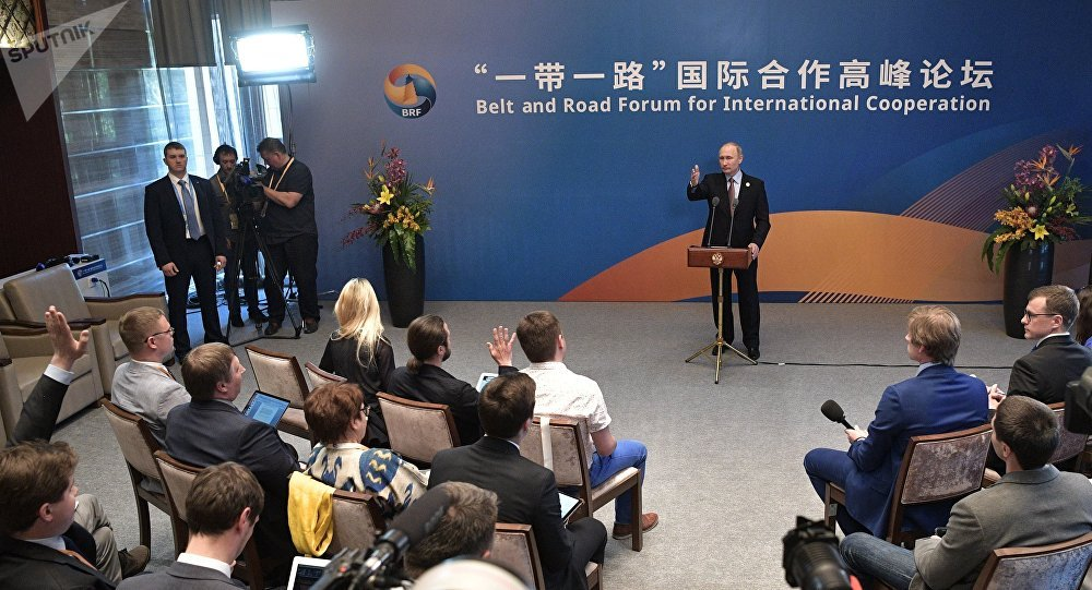 May 15, 2017. Russian President Vladimir Putin during a media scrum with the Russian press following his participation in the Belt and Road Forum for International Cooperation.