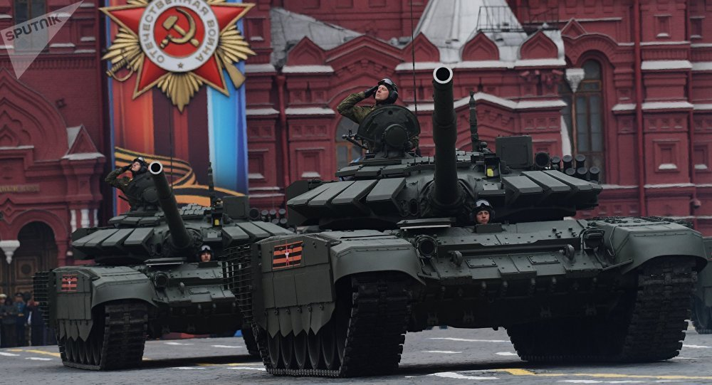 T-72B3 tanks during the military parade in Moscow marking the 72nd anniversary of the victory in the Great Patriotic War of 1941-1945
