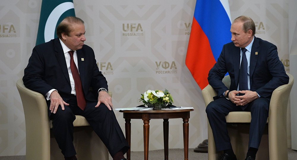 President of the Russian Federation Vladimir Putin meets with Nawaz Sharif, Prime Minister of the Islamic Republic of Pakistan