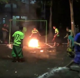 Kids Play Fire Football