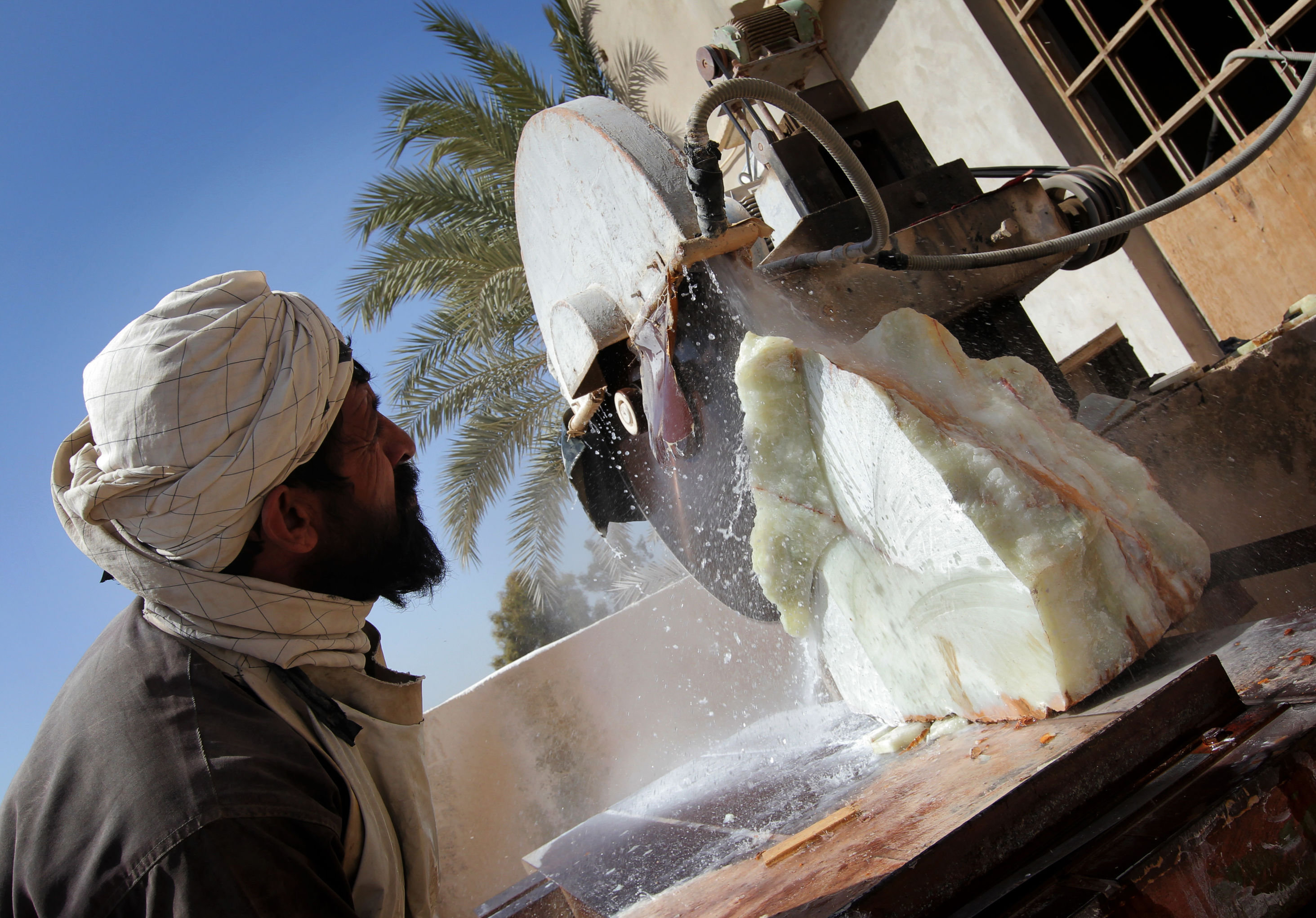 marble at a factory in Helmand province