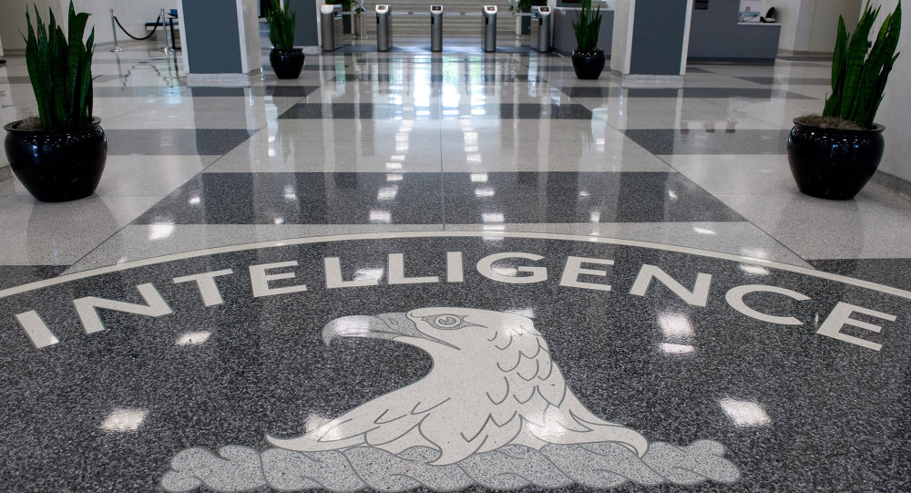 The Central Intelligence Agency (CIA) logo is displayed in the lobby of CIA Headquarters in Langley, Virginia