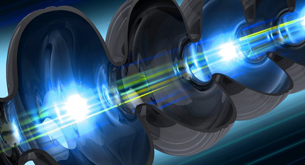 Illustration of an electron beam traveling through a niobium cavity – a key component of SLAC's future LCLS-II X-ray laser