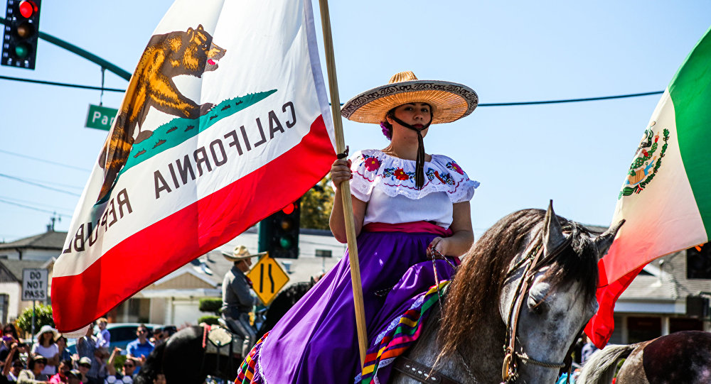 A woman carries a California flag during the 4th of July Parade in Alameda, California on Monday, July 4, 2016.